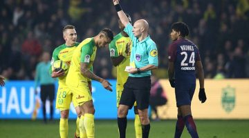 French referee kicks out at Nantes defender Diego Carlos